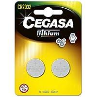 CEGASA CR2032 - Pack 2 Pilas botón Litio, Color Verde
