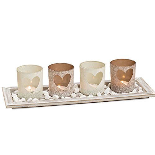 (WHW Whole House Worlds Americana Windlight Centerpiece Set of 5, 4 Tealight Candle Holders with Heart Shaped Windows, Decorative Pebbles, 1 Natural Wood Tray, Over 1 Ft Long)