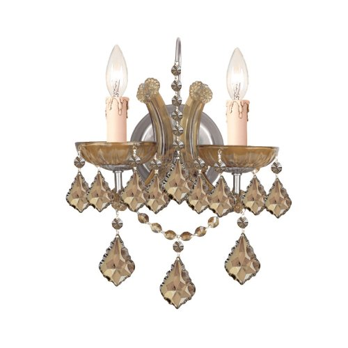Crystorama 4472-AB-GT-MWP, Maria Theresa Crystal Wall Sconce Lighting, 2 Light, 120 Watts, ()