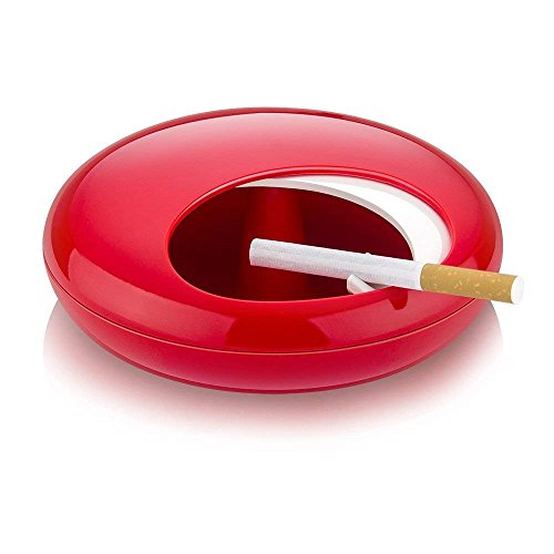 Melamine Ashtray Red - Fantasee Portable Ashtray with Spinning Lid Novelty Gift Decoration Ash Tray for Living Room Office Indoor Outdoor (Red+White)