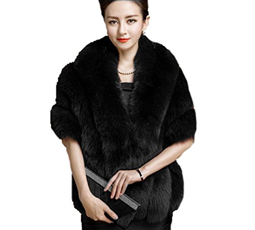 Yxjdress Women' Winter Faux Fur Shawl Wrap Stole Cape Jacket for Bride,Black,One Size