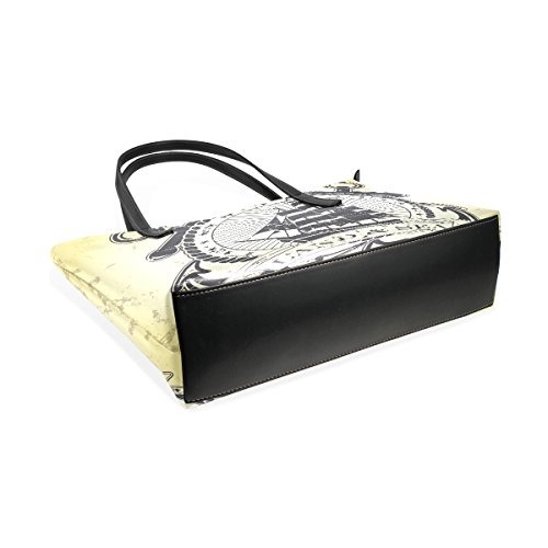 COOSUN Briefmarke mit nautischen Thema PU Leder Schultertasche Handtasche und Handtaschen Tasche für Frauen