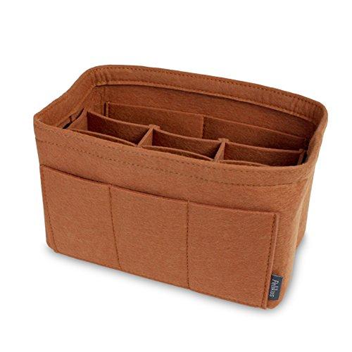 - Pelikus Felt Purse and Tote Organizer Insert/Sturdy Handbag Shaper (Medium with Center Divider, Caramel)