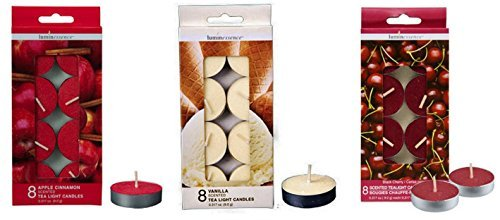 3-pack Assorted Scented Tea Light Candles 24-ct Apple Cinnamon, Vanilla, and Black Cherry