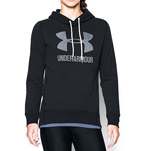 Under Armour Women's Sportstyle Favorite Fleece Hoodie, Black/White, Large