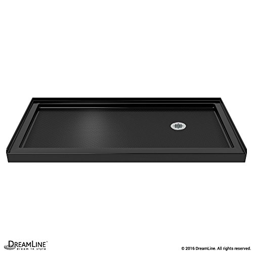 DreamLine SlimLine 36 in. D x 60 in. W x 2 3/4 in. H Right Drain Single Threshold Shower Base in Black