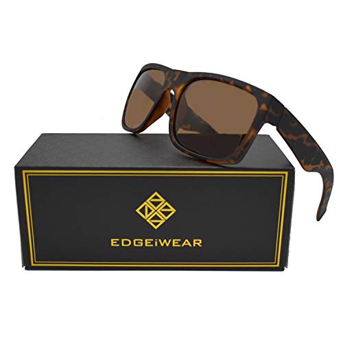 Extra Large Square Frame Polarized Sunglasses XL Size with Spring Hinge ()