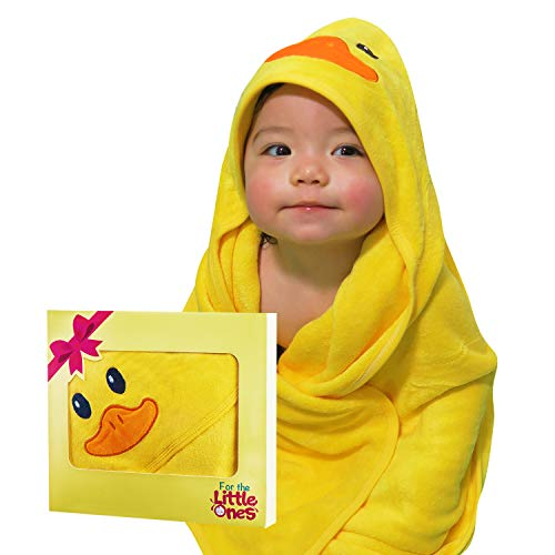 Yellow Duck Baby Hooded Towel | 100% Premium Organic Bamboo: Gentle on Baby's Delicate Skin | 500GSM Thick Fabric: Luxurious Comfort | Large Size (35