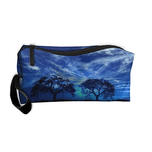 Portable Pen Bag Purse Pouch Moon Lakes Island Landscape Stationery Storage Organizer Cosmetic Holder -