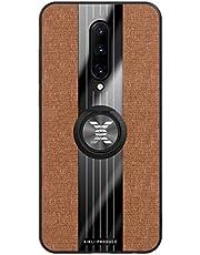 FHXD Hoesje voor Oneplus 7 Pro Ultradunne Stof Structuurpatroon Cover Case+1*Scherm Beschermer 360 ° Draaibare Ringbeugel Shock Proof Krasbestendig Beschermhoes-Bruin