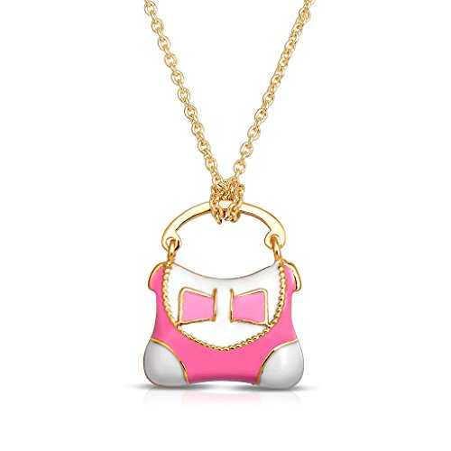 Necklace for Girl's - Purse Handbag Pendant - Gold Plated with Pink and White Enamel - By Lily ()