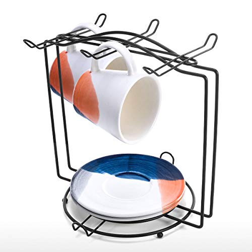 Tooarts Set of 2 Ceramic Cup Saucer 1 Mug Stand Microwave Safe Coffee Espresso Cup Coffee Cup Hanger Storage Organizer