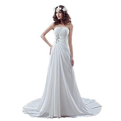 Elley Women's Strapless Neckline Pleated Bodice Sleeveless Chiffon Wedding Gown for Bride Ivory (Neckline Pleated Bodice)