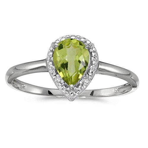 10k White Gold Pear Peridot And Diamond Ring (Size 4.5)