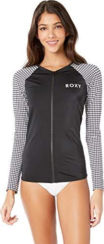 Roxy Junior's Long Sleeve Zip-up Fashion Rashguard, Bright White Vichy Swim, X-Small