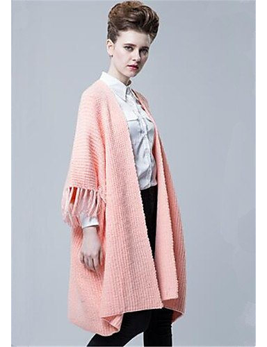Wool Length Simple Thick Fall Daily Women's V Sleeves 4 Print Xuanku Cardigan Neck Solid Micro Long Pink elastic Casual Polyester 3 Blushing Cotton Winter 7qFtH6