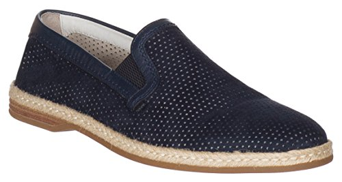 Dolce & Gabbana Men's Navy Blue Suede Perforated Loafers Slip On Flats Shoes, Blue, US 8 / IT 7 / EU 41