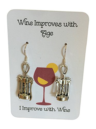 Wine Improves with Age, I Improve with Wine Wine Opener Earrings Funny Mothers Day Gift Sterling Silver EarWires