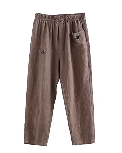 IXIMO Women's Linen Pants Elastic High Waist Cropped Pants Trousers With Pockets Gray (Easy Linen Cropped Pants)
