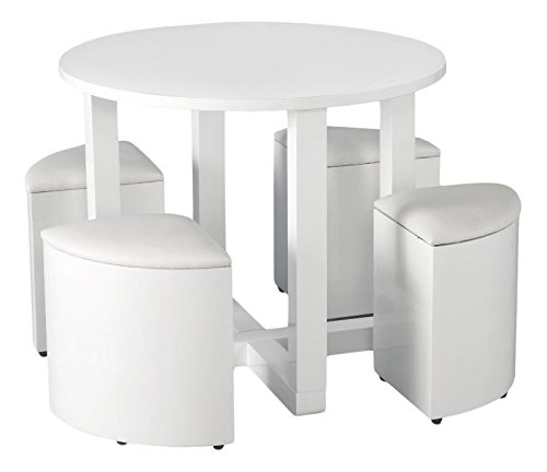 Seconique Charisma Stowaway Dining Set, Wood, Gloss/White Faux Leather, 729.95 x 739.95 x 509.95 cm