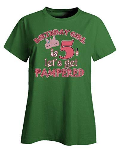 - Funny Makeup - Birthday Girl is 5 Let's Get Pampered - Blush Lipstick Humor - Ladies T-Shirt Irish Green