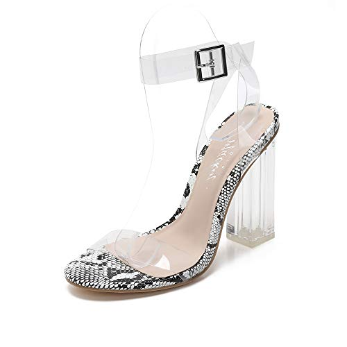 MACKIN J G3491 Transparent Open Toe Ankle Strappy Block Chunky Heel Sandals with TPU Clear Plastic 7 Snake