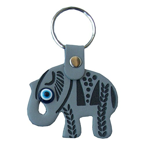 Elephant Evil Eye Keychain Keyring syntheticleather decorative Turkish – Greek – Jewish – Christian Handmade ornament (Gray)
