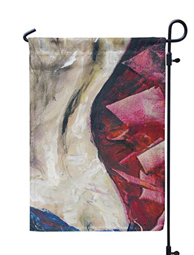 Soopat Oil Painting Seasonal Flag, Artwork Oil Painting Canvas Oil Abstract Art WomanWeatherproof Double Stitched Outdoor Decorative Flags for Garden Yard 12''L x 18''W Welcome Garden Flag