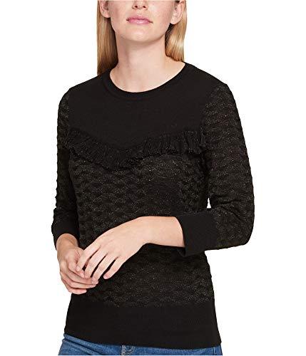 Nylon Sweater Metallic (Tommy Hilfiger Women's Ruffled Metallic Sweater (L, Black))
