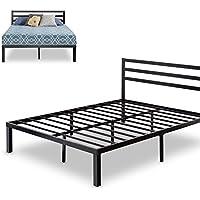 Zinus Quick Lock 14 Inch Metal Platform Bed Frame with Headboard / Mattress Foundation / No Box Spring Needed, Queen