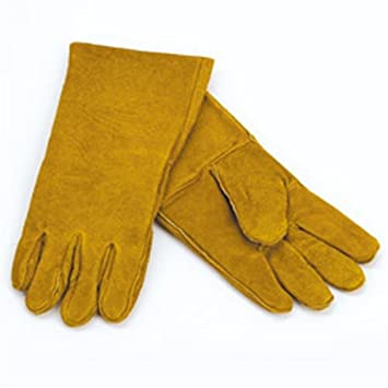 Amazon.com: 1 Pair of Woodfield Grey Leather Fireplace Gloves 13.5 ...