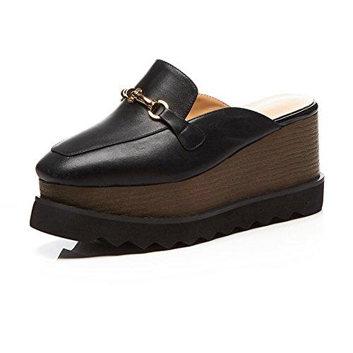 Mujer Zapatos Caminar Con WSXY Sujetadores Plataforma Mujeres KJJDE Chanclas Zapatilla De Para Moda Tacón Sandalias Metal Zapatos Black L0602 De Confort pqFzpr