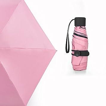 Sasan Mini paracaídas sombrilla Paraguas negro hembra pegamento medio fuera de bolsillo paraguas soleado color puro