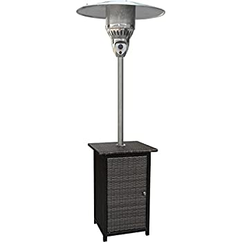Hanover 41000 BTU Square Wicker Propane Patio Heater, 7u0027, Brown/Stainless  Steel