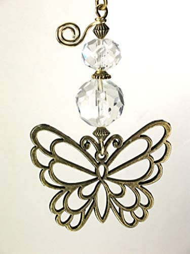 Large Brass Filigree Butterfly and Crystal Clear Glass Ceiling Fan Pull