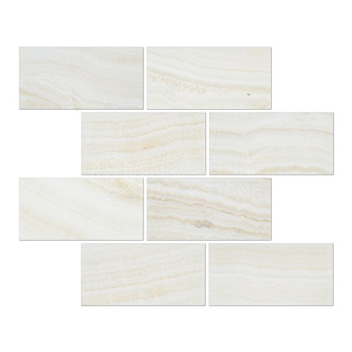 White Onyx (Bianco Fantastico) 3 X 6 Subway Brick Tile, Vein-Cut, Polished - SAMPLE