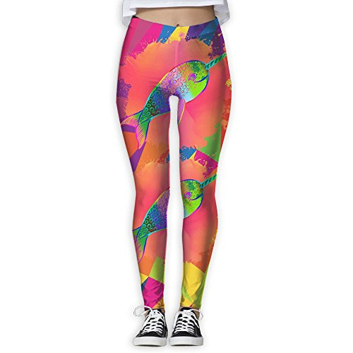 Gradient Narwhal Hipster Narwhal Unicorn Women's Activewear High-Waist Tights Leggings Yoga Pants XL