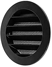 """calimaero WSGB 4"""" Inch Black Round Metal Air Vent Grill Cover Flat Louver with Fly Screen"""