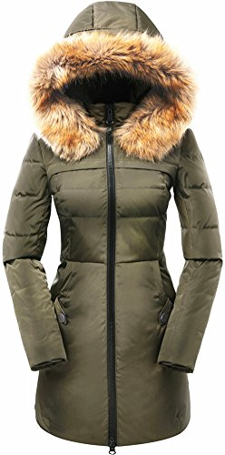 valuker Women's Down Coat with Fur Hood 90D Parka Puffer Jacket 57-Green-XL