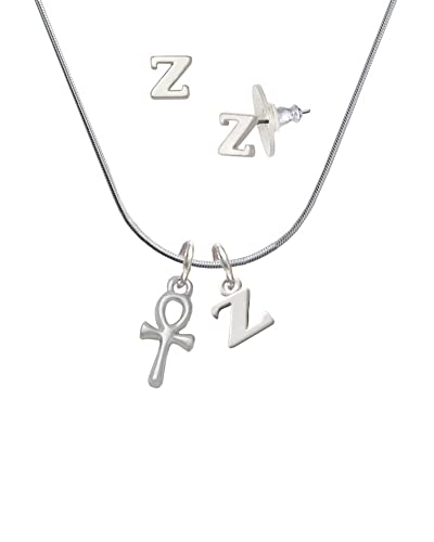 0dc72ab4b668 Small Ankh - Z Initial Charm Necklace and Stud Earrings Jewelry Set   Amazon.co.uk  Jewellery