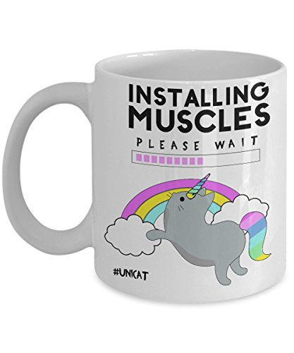 Unicorn Coffee Mug Cat Unicat Meow Installing Muscles Kitten Kitty Fantasy Rainbow Gift Costume Funny Sparkle Coffee Cup for Pet Lover Magical Night Out