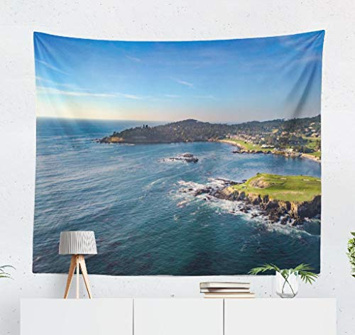 threetothree 50 x 60 inches Tapestry Wall Hanging Interior Decorative Beach Golf and Rocks California Beach Golf Beautiful Blue California Coast for Bedroom Living Room Tablecloth Dorm