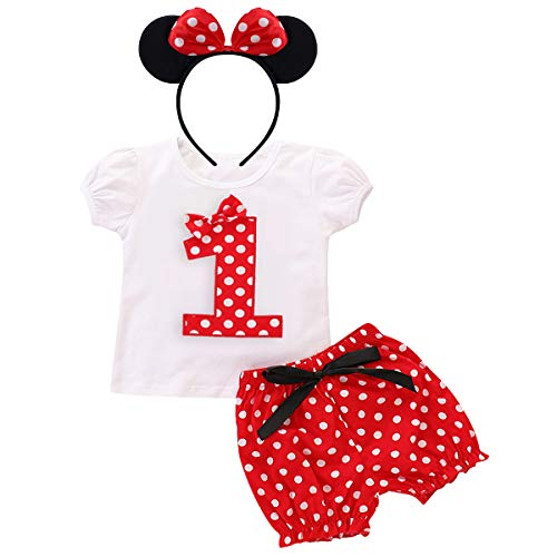 Minnie Costume Baby Girls Birthday Outfit Short Sleeve T-Shirt Top+Polka Dot Pants+Ear Headband Toddler Little Princess Summer Shorts Clothes 3Pcs Set for Cake Smash Photo Shoot Party Red No.1 12-18M -