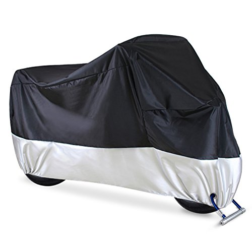 "Ohuhu Waterproof Motorcycle Cover, Fits up to 108"" Motors, 2 Anti-theft Lock-holes Design, Durable & Tear Proof, for Honda, Yamaha, Suzuki, Harley and More"