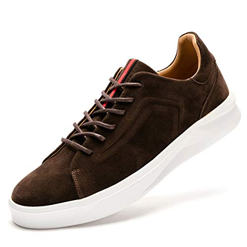 FLSHO Men's Classic Suede Leather Skate Shoes Lace Up Fashion Low Top Sneakers Coffee Skateboarding Shoes Size 7.5 FLS-1992KF075-1]()