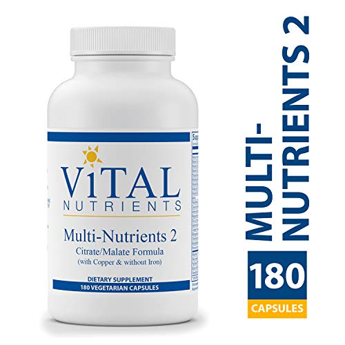Vital Nutrients – Multi-Nutrients 2 – Citrate/Malate Formula (with Copper & Without Iron) – 180 Capsules