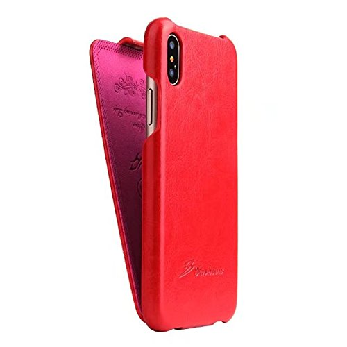 (iPhone X case, PU Leather Vertical Flip Case, Premium PU Leather Slim Fit Ultra Light Soft Touch Protective Mobile Cell Phone Case Back Cover Apple iPhone X (Red))