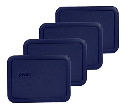 Pyrex 7210-PC Rectangle Dark Blue 3 Cup Storage Lid for Glass Dish (4, Dark Blue) (Rectangle Glass Lid compare prices)