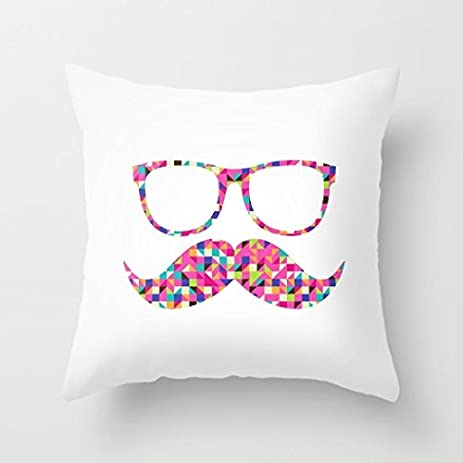 Amazon Generic Funny Girly Mustache Hipster Glasses Canvas Mesmerizing Girly Decorative Pillows