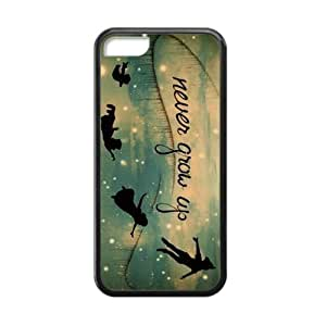 Peter Pan Never Grow Up Classic Custom Rubber Protective Back Case Cover for iPhone 5/5s